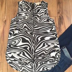 Michael Kors Hi-Lo Sheer Zebra Tank, SZ S